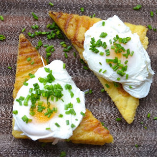 Poached Eggs on Grilled Polenta Cakes