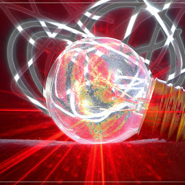 Light Bulb by Jacques Prinsloo - Abstract Light Painting ( light painting, red, radiating, light bulb,  )