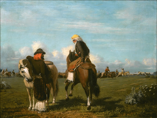 In <i>The Overseers</i>, the central focus is on two men who appear in the foreground while the low horizon of the plains reaches back behind them, where peons participating in the rodeo can be seen. The two main characters use typical attributes and are dressed in fine clothes...