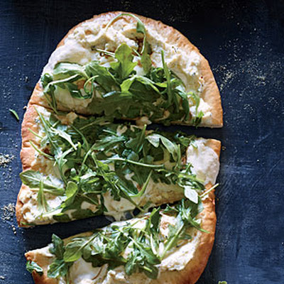 Three-Cheese White Pizza with Fresh Arugula