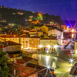 Piran by night by Igor Rosina - City,  Street & Park  Historic Districts ( piran, piran bx night, star light, sea, night )