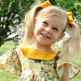 Cheese by Lydell Vik - Babies & Children Child Portraits ( blonde, easter, girl, pig tails, smile )