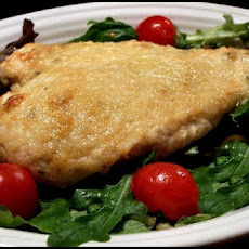 Parmesan-Crusted Chicken on Bed of Fancy Greens
