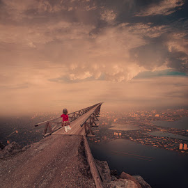 Destiny by Caras Ionut - Digital Art Places ( ioana, carasdesign, paper, land, writing, children, rock, landscape, birds, sun, city, caras ionut, psd, mounting, poem, light, top, clouds, hill, tutorials, building, letter, beautiful, cliff, manipulation, observer, dove, roof, fly )