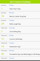 Screenshot of USA Holiday Calendar 2014