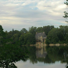 riverfront by Laurie Voyer - Buildings & Architecture Homes ( reflection, grey, house, landscape, river )