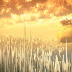 Columbus City by Joseph Belcher - Illustration Sci Fi & Fantasy ( fantasy, vue, 3d landscape, science-fiction, spikes, 3d, future, floating, artistic, digital, float, city )