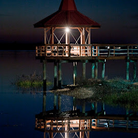 Inviting Light by Jacob Padrul - Buildings & Architecture Bridges & Suspended Structures ( calm, reflection, night photography, light shadow, night, relaxation, quiet, gazebo )