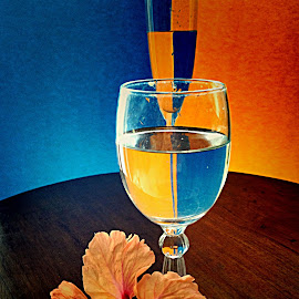 by Janette Ho - Artistic Objects Glass ( blue, orange. color )