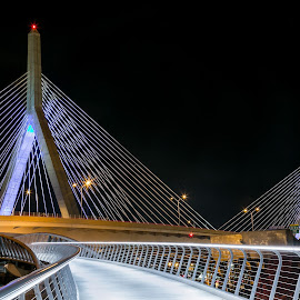 Leonard P. Zakim Bunker Hill Bridge by Cary Chu - City,  Street & Park  Night