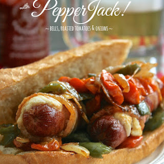 Candied Bacon-Wrapped Beef Dogs with Pepper Jack Cheese, Bells, Roasted Grape Tomatoes & Onions