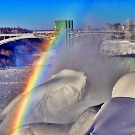 Frozen Niagara Rainbow by Brock Willis - Landscapes Travel ( love, water, nature, niagara falls, art, falls, new york, like, rainbow )