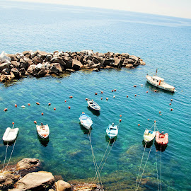 Boats by Marwa Ibrahim - Landscapes Waterscapes ( cinque terre, boats, sea, rocks, italy )