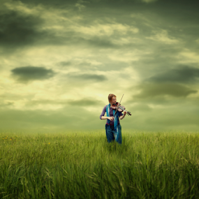 violin lady by Matej Skubic - Digital Art People ( violin lady green gras clouds )