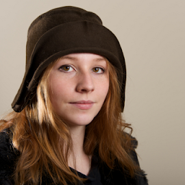 by Nick Dale - People Fashion ( jacket, girl, woman, brown, redhead, freckles, cloche, portrait, black, hat )