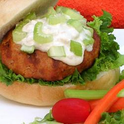 Buffalo Chicken Burgers with Blue Cheese Dressing