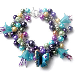 Butterfly Flower Charm Bracelet by Janet Skoyles - Artistic Objects Jewelry