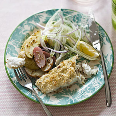 Halibut with Panko-Horseradish Crust and Warm Fingerling Potato Salad