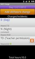 Screenshot of MyShiftWork Pro