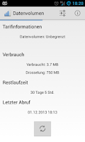 Screenshot of Telekom Verbrauchsanzeige