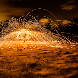 Spinning I by Mark Rogers - Abstract Fire & Fireworks ( spinning, snow, long exposure, night, sparks )