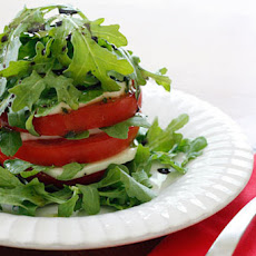 Tomato Mozzarella and Arugula Tower