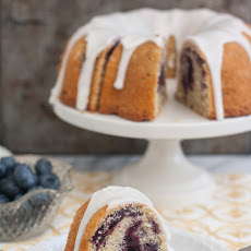 Marbled Blueberry Bundt Cake with Lemon Glaze