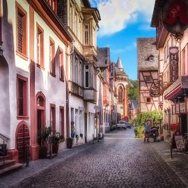 Oberstrasse in Bacharach by Ole Steffensen - City,  Street & Park  Street Scenes ( rhine, street, rhine-valley, oberstrasse, germany, bacharach,  )