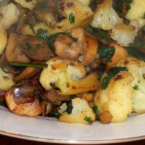 Cauliflower with Bacon and Mushrooms