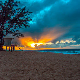 Sunset Watch by Lee McCormick - Landscapes Beaches ( lifeguard, sunset, my photos, lake, ocean, beach )