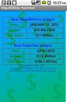 Screenshot of MegaMillions PowerBall Lottery