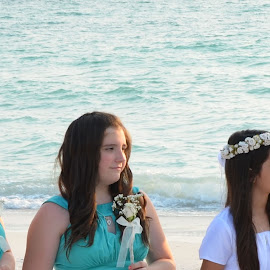 Beautiful Bride Maids all in a row by Carmella Dunkin - Wedding Ceremony ( floral bouquet, brides maids, wedding, wedding flowers, flowers, beach wedding, flower, bouquet )