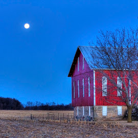 Moonlit Barn by Mark Six - Buildings & Architecture Other Exteriors ( farm, moon, barn, harvest, architecture,  )