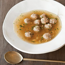 Vietnamese Turkey Meatballs in Broth with Red Onion and Herbs