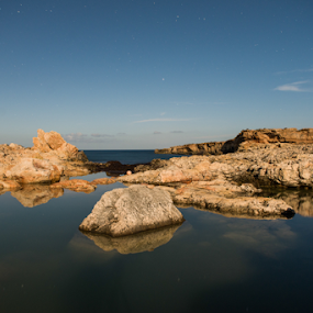 Lonely by Inma  Monte Picante - Landscapes Waterscapes ( ibiza, moonbeach, stars, beach, longexposure, rocks, spain )