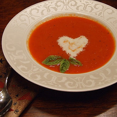 ROASTED RED PEPPER SOUP W/ ORANGE CREAM