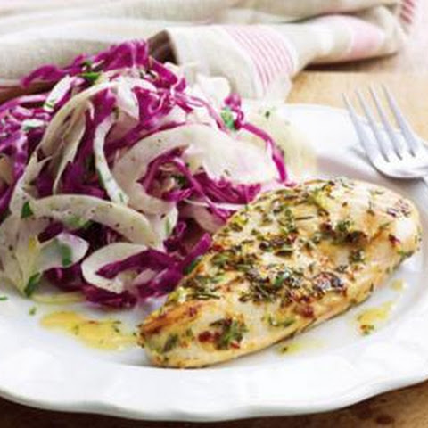 Lemon And Rosemary Chicken With Fennel Cabbage Slaw