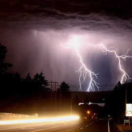 Electric by Taylor Olson - Landscapes Weather ( lightning, night, storm, dangerous, slow shutter )