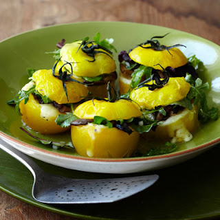 Yellow Tomatoes Stuffed with Grilled Wild Mushrooms and Parmesan Cheese