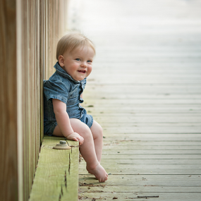 Tucker - 10 Months on the Bridge by Lorella Johnson - Babies & Children Toddlers ( baby boy denim smile )