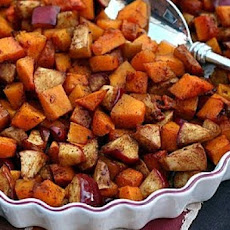 Baked Spiced Butternut Squash with Apples and Maple Syrup