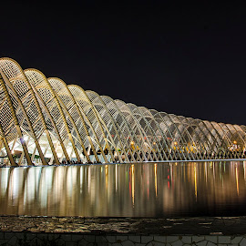 Agora at night (IV) by Sergios Georgakopoulos - Buildings & Architecture Bridges & Suspended Structures ( greece, athens, reflections, agora )