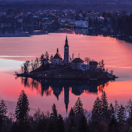 Red Clouds in Bled Lake by Miro Zalokar - Buildings & Architecture Other Exteriors