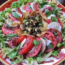 Proscuitto Caprese with Pan-Roasted Brussels Sprouts and Parmesan Chips
