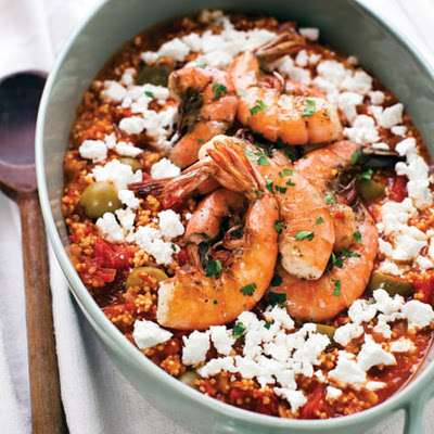 Greek Millet Saganaki with Shrimp and Ouzo
