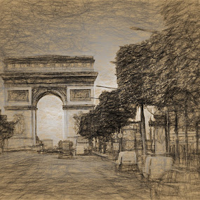 Famous Arch by Dennis Granzow - Digital Art Places ( land mark, paris, europe, france, architecture, travel )