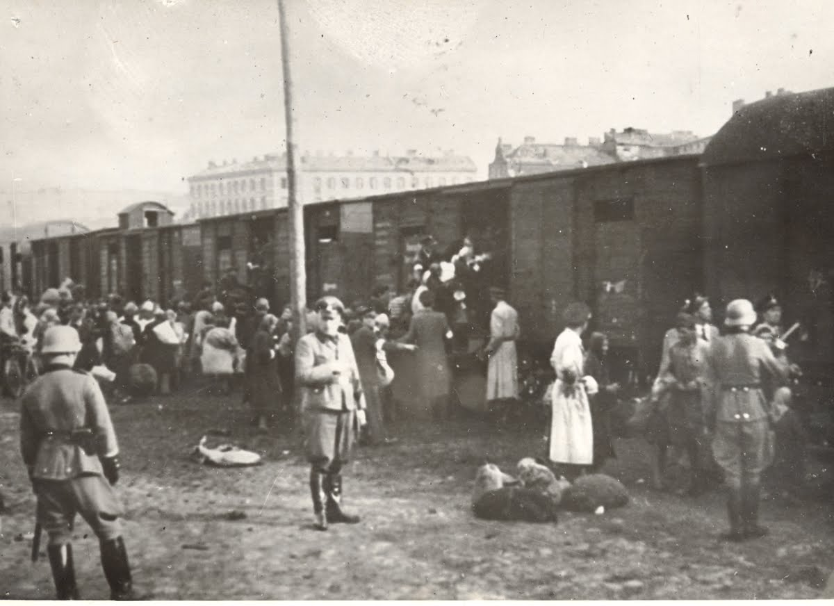 Jews herded into a train to Treblinka at the Umschlagplatz, Stawki Street, Warsaw 1942.