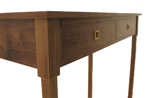 Contemporay Console Table in American Black Walnut - Visable Through Dovetailed Draws