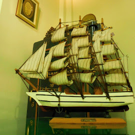 Ship docked! by Anoop Namboothiri - Artistic Objects Antiques ( artistic ship, office space, vintage ship, old type ship, ship, mast ship, model ship, , vertical lines, pwc )