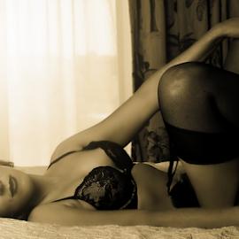 Sunset by Emily Vickers - Nudes & Boudoir Boudoir ( lace, fit, garter, sexy, lingerie, boudoir, panties, black lingerie, bra, women, photography )